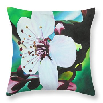 Throw Pillow featuring the painting Cherry Blosom by Joshua Morton
