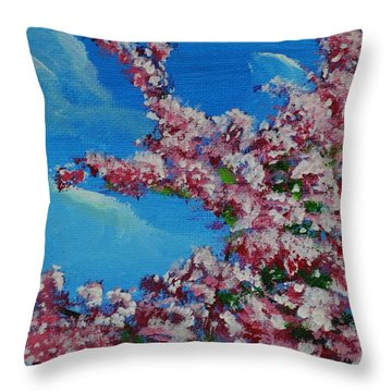 Cherry Blossom Branch Throw Pillow by P Dwain Morris