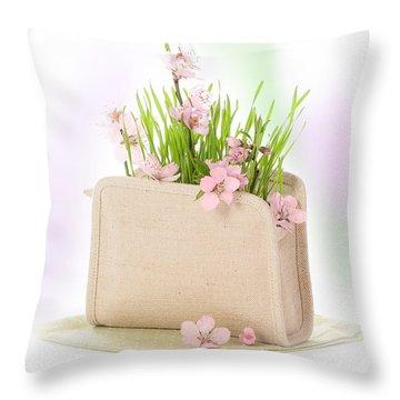 Cherry Blossom Throw Pillow by Amanda Elwell