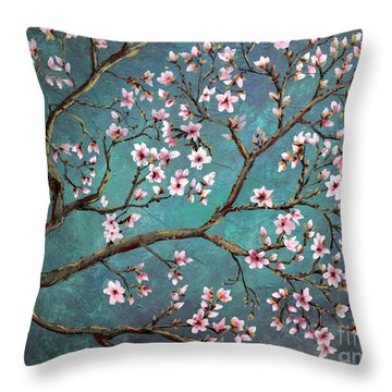 Throw Pillow featuring the painting Cherry Blossom by Nancy Bradley