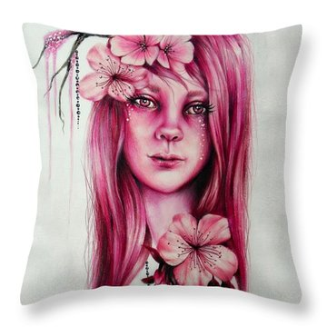 Cherry Blossom Throw Pillow by Sheena Pike