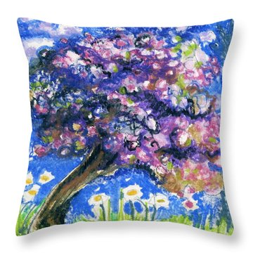 Cherry Blossom Spring. Throw Pillow