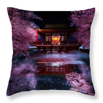Cherry Blossom Tea House Throw Pillow