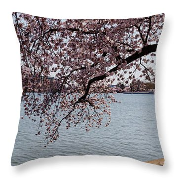 Cherry Blossom Trees With The Jefferson Throw Pillow