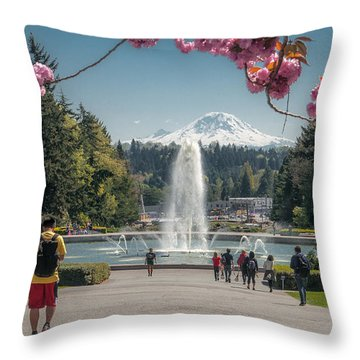 Cherry Blossom View Throw Pillow