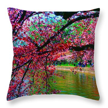 Cherry Blossom Walk Tidal Basin At 17th Street Throw Pillow