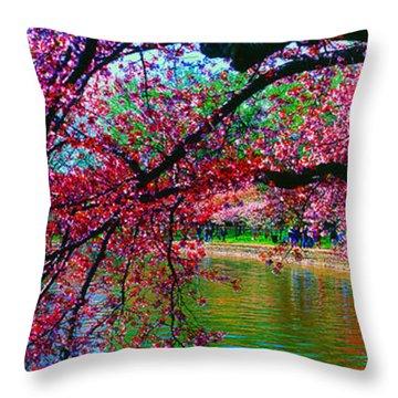 Cherry Blossom Walk Tidal Basin At 17th Street Throw Pillow
