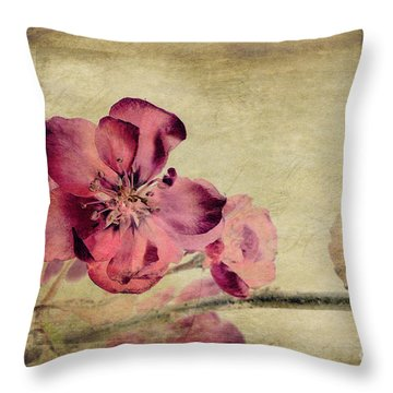 Cherry Blossom With Textures Throw Pillow