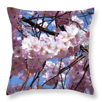 Cherry Blossom Trees Of Branch Brook Park 3 Throw Pillow