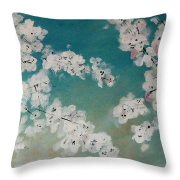 Cherry Blossoms Against Sky Throw Pillow by Lynne McQueen