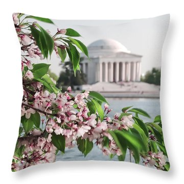 Throw Pillow featuring the photograph Cherry Blossoms And The Jefferson Memorial 2 by Mitchell R Grosky
