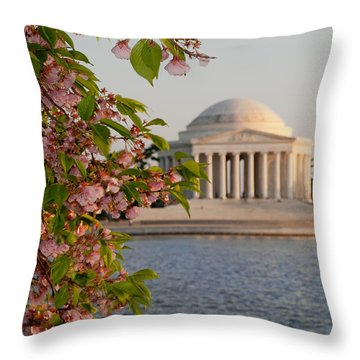 Throw Pillow featuring the photograph Cherry Blossoms And The Jefferson Memorial 3 by Mitchell R Grosky
