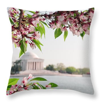Throw Pillow featuring the photograph Cherry Blossoms And The Jefferson Memorial Panorama by Mitchell R Grosky