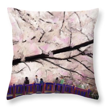 Cherry Blossoms Throw Pillow by Kume Bryant