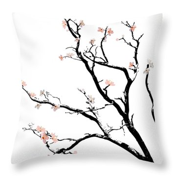 Cherry Blossoms Tree Throw Pillow by Gina Dsgn