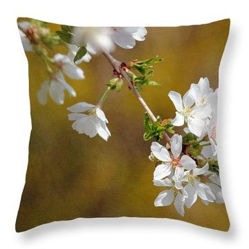 Throw Pillow featuring the photograph Cherry Blossoms by Trina  Ansel