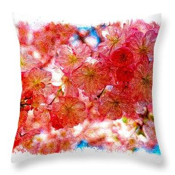 Cherry Blossums Throw Pillow