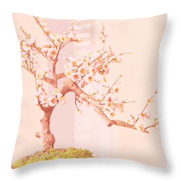 Cherry Bonsai Tree Throw Pillow