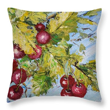 Throw Pillow featuring the painting Cherry Breeze by Kathleen Pio
