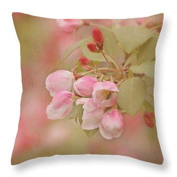 Cherry Buds Throw Pillow by Kim Hojnacki