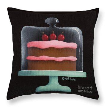 Cherry Chocolate Cake Throw Pillow by Catherine Holman