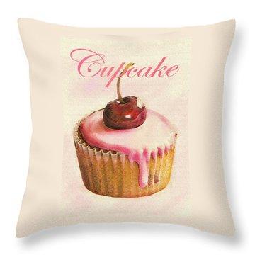 Cherry Cupcake Throw Pillow by Jane Schnetlage