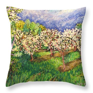 Cherry Orchard Glow Throw Pillow by Madonna Siles