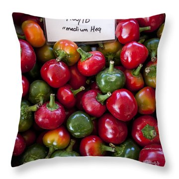 Cherry Peppers Throw Pillow by Janice Rae Pariza