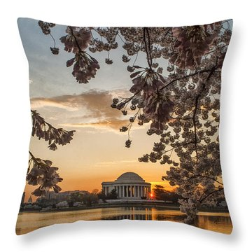 Cherry Sunrise Burst Throw Pillow
