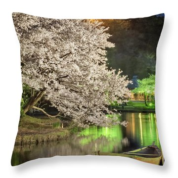 Throw Pillow featuring the photograph Cherry Blossom Temple Boat by John Swartz