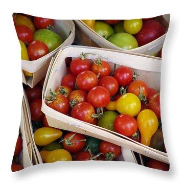 Cherry Tomatos Throw Pillow by Carlos Caetano