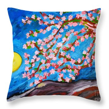 Cherry Tree In Blossom  Throw Pillow