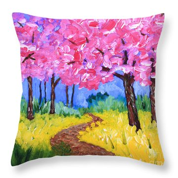 Cherry Trees And Field Mustard After The Rain Acrylic Painting Throw Pillow