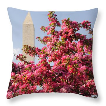 Throw Pillow featuring the photograph Cherry Trees And Washington Monument 5 by Mitchell R Grosky