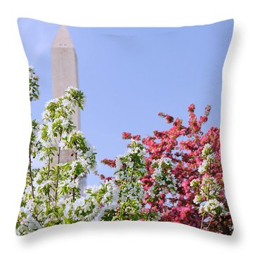 Cherry Trees And Washington Monument Four Throw Pillow