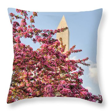 Cherry Trees And Washington Monument One Throw Pillow