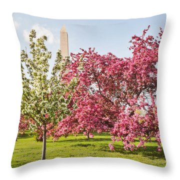 Cherry Trees And Washington Monument Three Throw Pillow