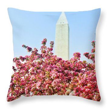 Cherry Trees And Washington Monument Two Throw Pillow