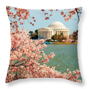 Cherry Trees At The Jefferson Throw Pillow by Nick Zelinsky