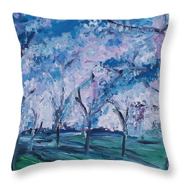 Cherry Trees Impressionism Throw Pillow by Eric  Schiabor