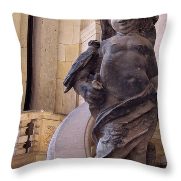Throw Pillow featuring the photograph Cherub At The Entrance Of Zwinger Palace - Dresden Germany by Jordan Blackstone