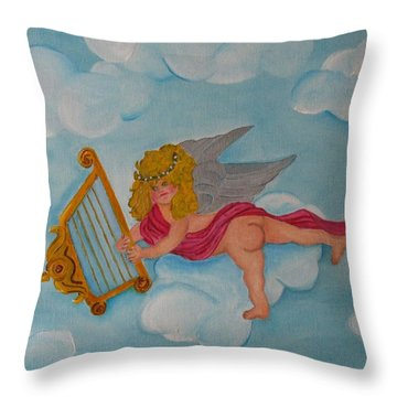 Throw Pillow featuring the photograph Cherub In The Clouds by Margaret Newcomb