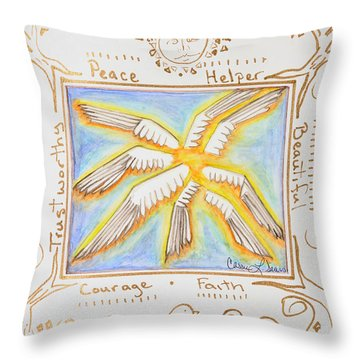 Throw Pillow featuring the painting Cherubim by Cassie Sears