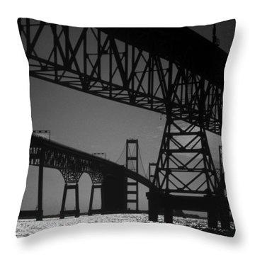 Chesapeake Bay Bridge At Annapolis Throw Pillow by Skip Willits