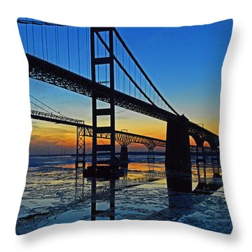 Chesapeake Bay Bridge Reflections Throw Pillow