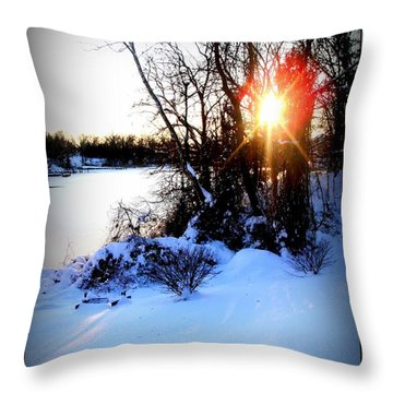 Throw Pillow featuring the photograph Chesapeake Bay  Winter Wonderland by Danielle  Parent