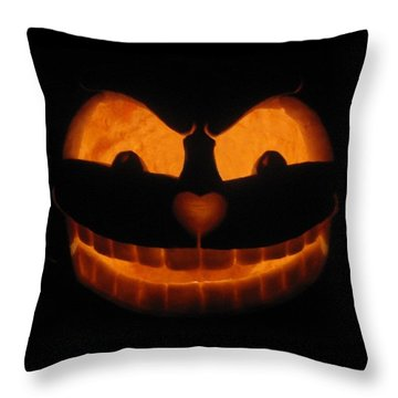 Throw Pillow featuring the sculpture Cheshire Cat by Shawn Dall