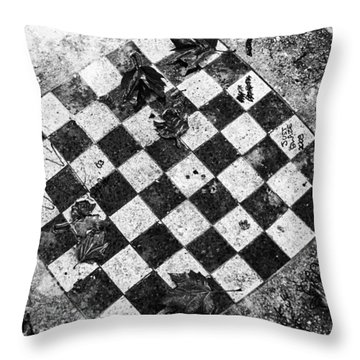 Chess Table In Rain Throw Pillow