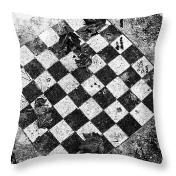 Chess Table In Rain Throw Pillow by Dave Beckerman
