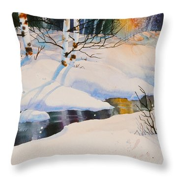 Chester Creek Shadows Throw Pillow by Teresa Ascone